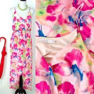 Lush Floral Tulip Hem Maxi Dress Sz M